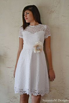 Two Lace Gown / 50s White Wedding Dress  by SuzannaMDesigns, €319.77
