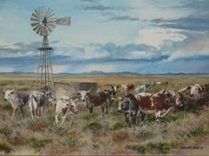 Malcomess Ngunis Cattle by Barbara Philip ~ watercolor countryscape windmill Farm Paintings, Nursery Paintings, Wildlife Paintings, Paintings I Love, Landscape Paintings, Landscapes, Ranch, Cow Painting, Watercolor Painting