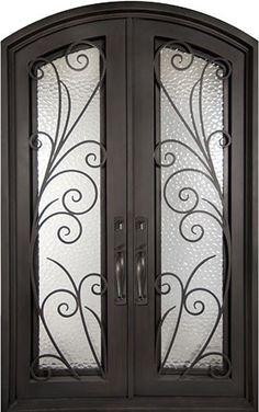 62x82 Summer Breeze Iron Double Door. Beautiful wrought iron front entry door with grille from Door Clearance Center.
