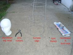 This is a way I came up with to make quick, cheap and easy armatures for props that appear to be coming out of the ground (Zombies, etc.). Materials/Tools:(you can use wadded-up newspaper instead of a wig head; tomato cages are available here)First, turn the tomato cage upside-down, so that the largest circle is on the ground. Then, bend the 2 wires opposite eachother into the shape of arms. Remember to make shoulders, too: Bend the third wire straight down, t