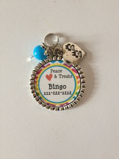 Personalized Dog ID tag,Rainbow, PEACE Love and Treats,  phone number and pet name on Etsy, $5.50