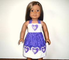 American Girl Sundress Designer Hearts Purple and by apriljunebug, $22.00