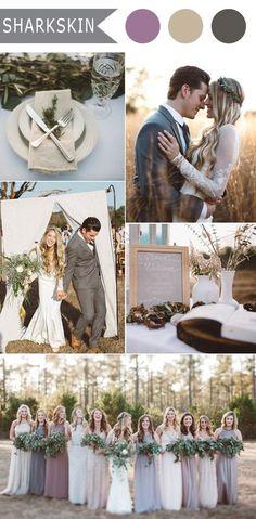 gray lavender and tan rustic fall wedding colors 2016