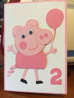 Bday Cards, Kids Birthday Cards, Handmade Birthday Cards, Cricut Cards, Stampin Up Cards, Peppa Pig, Pig Crafts, Paper Crafts, Kids Scrapbook