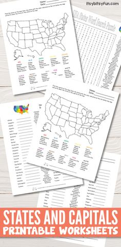 Awesome States and Capitals Worksheets freeprintables worksheetsforkids from States and Capitals Worksheets Geography Worksheets, Us Geography, Homeschool Worksheets, Social Studies Worksheets, Teaching Geography, Social Studies Activities, Teaching Social Studies, Worksheets For Kids, 5th Grade Worksheets