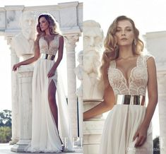 Free shipping, $132.37/Piece:buy wholesale Julie Vino 2014 lace Wedding Dresses with Cap Sleeves gold sash and Plunging Neck high waist front slit beach wedding gowns bridal gowns from DHgate.com,get worldwide delivery and buyer protection service.