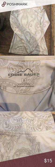 Eddie Bauer Athletic Top EUC paisley printed top. Top/front 1/2 zip closure. Gray color scheme. It's a woman's small but can  fit a child who wears 14/16. Tops