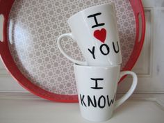 His and Her coffee mugs I Love You I Know by TheUrbanCottageShop, $13.00