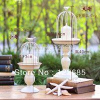 Venta al por mayor LIBRE DE ENVÍO decoración del hogar del sostenedor de vela copas europeas retro minimalistas hacen el titular de la vela blanca vieja jaula de hierro forjado de aves