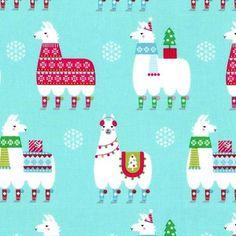 Michael Miller House Designer - Llama Navidad - Llama Navidad in Aqua