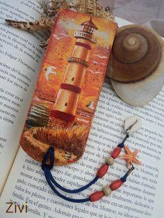 """Marcapaginas de madera """"Atardecer"""" Marcapaginas de madera decorado con la tecnica de decoupage #Marcapaginas #MarcapaginasMadera #Bookmarks #Signets"""