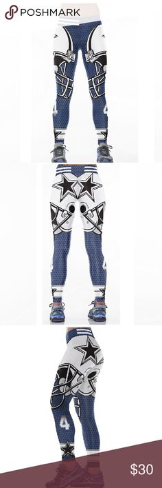 Dallas Cowboys NFL Leggings Root for your favorite team in these high quality NFL leggings! Perfect wardrobe addition while watching Sunday football games. The vivid colors and designs are sure to turn heads! Get a pair now while they last to show your team support every week as they inch their way to the glorious Super Bowl Material: Spandex/Polyester Measurements:  (Length / Waist / Hip) S/M: 36 / 27.5-37 / 33-41.5 L/XL: 36.5 / 30–39.5 / 35.5-44 Price FIRM unless bundled FAST Shipping…