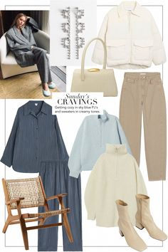 Sunday's Cravings: Cozy in sky blue and creamy tones 90s Fashion, Fashion Outfits, Womens Fashion, Fashion Trends, Fashion Shirts, Cozy Fashion, Fashion 2018, Korean Fashion, Fashion Online