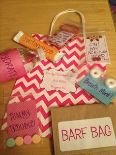 """Hangover kit"" party favor bags i made for my future sister in law's bachelorette party. i used every day items such as breath mints, tums, advil, water, Hen Party Favours, Hen Party Bags, Diy Wedding Favors, Wedding Bag, Shower Favors, Shower Invitations, Wedding Gifts, Wedding Ideas, Bachlorette Party"
