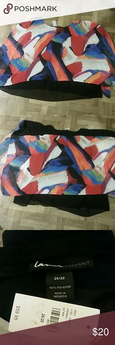 NWT LANE BRYANT SHAWL / PUNCHO Size 26/28 Very Colorful   Open Sleeves    Sheer but Lined Lane Bryant Tops Camisoles