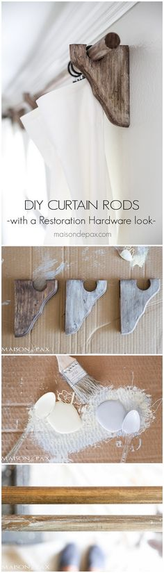 DIY Farmhouse Decor - the Ultimate Guide with 300 Ideas - how to make your own #DIY #farmhouse style curtain rods #woodworking #homedecor