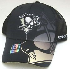 NHL Pittsburgh Penguins Black Structured Fitted Mesh Hat By Reebok. S/M