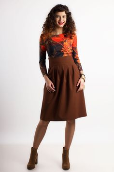 Brown skirts with pleats