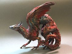 Red Brush Dragon by Ellen Jewett, Canada, on Etsy