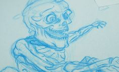 Blue pencil drawing of the Zombie Skateboarder before it's inked over