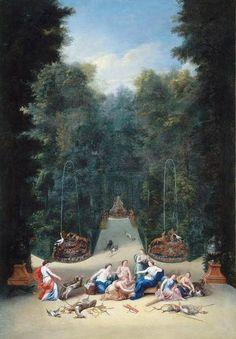 Vue de l'intérieur du bosquet du Labyrinthe de Versailles par Jean Cotelle, le Jeune (1642-1708)