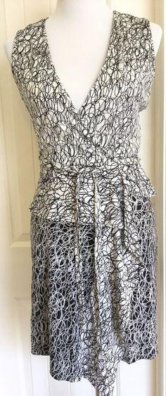 Diane von Furstenberg DVF Mililani Silk Wrap Dress 4 Black White Scribble Print…