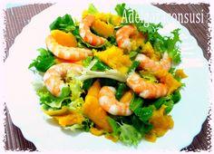 Ensalada de mango y langostinos con salsa de naranja (1/4) Cals: 151kcal | Grasa: 5,38g | Carbh: 13,90g | Prot: 13,72g Deliciosa...