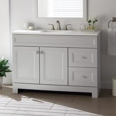 Home Decorators Collection Sedgewood in. Bath Vanity in Dove Gray with Solid Surface Technology Vanity Top in Arctic with White Sink - The Home Depot 42 Inch Bathroom Vanity, Bathroom Vanity Cabinets, Vanity Sink, Bath Vanities, Vanity Drawers, Grey Bathrooms, White Bathroom, Master Bathroom, Bathrooms Decor