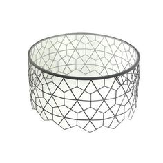 Metal & glass accent table Dimensions: x x Brass Metal, Antique Brass, Drum Table, Table Dimensions, Round Coffee Table, Wood Veneer, Side Tables, Shapes, Antiques