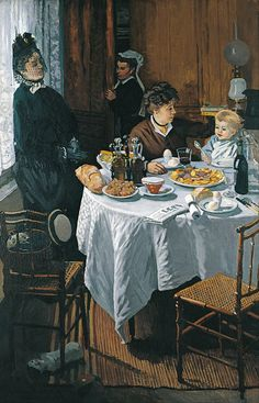The Luncheon - Claude Monet c. 1868.  Städel, which features Camille Doncieux and Jean Monet, was rejected by the Paris Salon of 1870, but included in the first Impressionists' exhibition in 1874