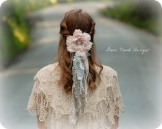 Tattered Lace Wedding Veil in Pink Green and by GreenTrunkDesigns, $50.00