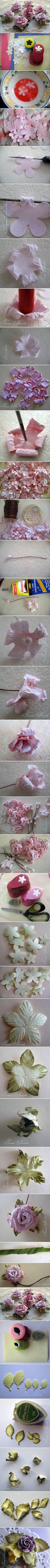 Soaking die cut flowers to make embellishments.