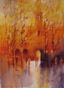 Abendstimmung 2010 - Watercolor painting by Viktoria Prishedko