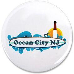 "Ocean City NJ - Surf Design. 3.5"" Button on CafePress.com"