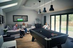 Mark and Siobhan Hamilton's games room in Hamilton, Scotland has an impressive blacked-out. Patio Interior, Room Interior, Garage Game Rooms, Game Room Basement, Garage Bar, Summer House Interiors, Home Bar Rooms, Pool Table Room, Game Room Bar