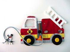 Felt Fire Truck & Dalmatian by Imagine Our Life - I might do a page with the truck sewn down and just a moveable hose and ladder so we don't lose any small parts.