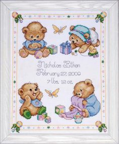Free Printable Baby Birth Record Cross Stitch Patterns | Teddy Bears - Cross Stitch Patterns & Kits