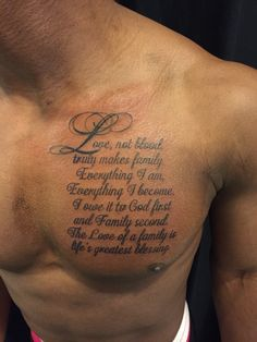 Script on Chest Tattoo  Artist: Nina Dreamworx Ink 3883 Rutherford Rd, Unit 11 Vaughan, ON L4L 9R8 905-605-2663 @Dreamworx Ink