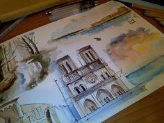 #paris #notredame #ortigia #forest #lake #ruins #waterbrush #watercolors #draw #sea #sunset