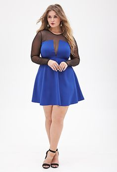 Mesh-Paneled Fit & Flare Dress | FOREVER21 PLUS - 2055879004
