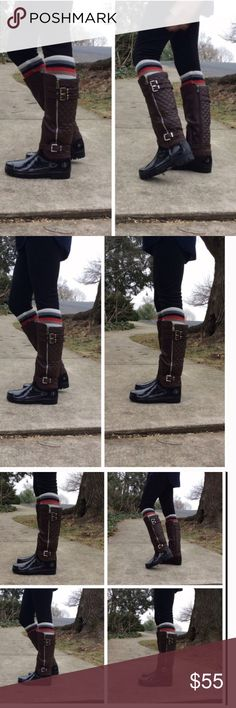 •quilted rain boots• Rain boots feature quilted back and zipper detail with buckles. Zipper on inner side is functional. True to size. Color is brown, almost looks like a brown/black combo but true color is brown.  Heel is 1.25 inches, shaft 15 inches, circumference is 17 inches.  ❌PRUCE FIRM UNLESS BUNDLED❌ Shoes Winter & Rain Boots