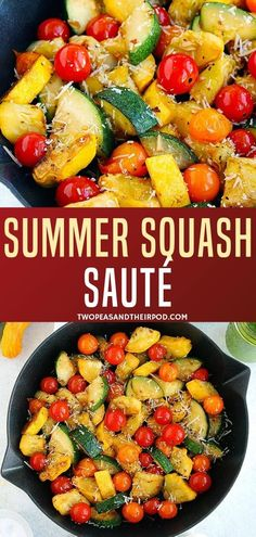 Sauteed summer squash recipe is made with summer squash and zucchini sauteed with tomatoes, garlic, and parmesan cheese! This easy side dish is perfect pair to any meal of the day best served with basil vinaigrette dressing. Try this healthy recipe now! Zucchini Side Dishes, Side Dishes Easy, Healthy Side Dishes, Vegetable Dishes, Side Dish Recipes, Vegetable Recipes, Vegetarian Recipes, Cooking Recipes, Veggie Recipes Healthy