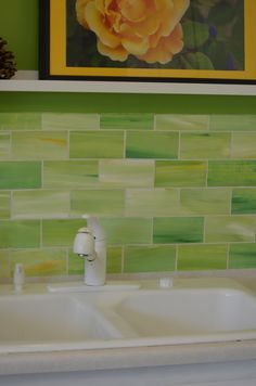 Kitchen Backsplash Tiles Glass awesome lime green glass tile mosaic kitchen backsplash!! | susan