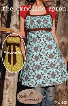 Emmeline Apron Sewing Pattern--an apron that makes me look thin (while I bake some pinterest peanut butter delectable). What's not to love? (this isn't a free pattern)