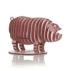 3-D pink pig made of cardboard