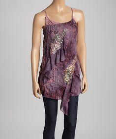 Love this Purple & Pink Floral Silk-Blend Tank by Pretty Angel on #zulily! #zulilyfinds