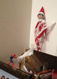 100 Elf On The Shelf Ideas Oooh No! Spiderman has Elf in his web! 100 Elf On The Shelf Ideas Christmas Elf, All Things Christmas, Christmas Projects, Christmas Ideas, Elf Auf Dem Regal, Elf Magic, Elf On The Self, Naughty Elf, Santa's Little Helper
