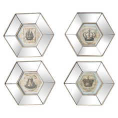 Featuring a crown motif, this eye-catching framed print adds chic appeal to your entryway or master suite.     Product: Set of 4 fram...