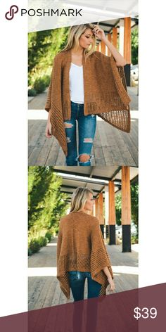 Drape Knit Ruana in Camel Beautiful Must Have Drape Knit Ruana in 5 beautiful color selections! Great for Casual Looks, Pair it with your favorite boots and Jeans!  Other color shown is Oatmeal. Accessories Scarves & Wraps