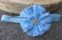 Light Blue Hairband, Chevron Print, Elastic Hairband, Photo Shoot Prop by OurKraftyCreations on Etsy